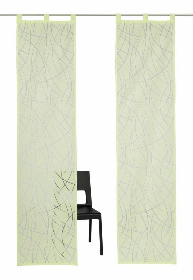 Schiebegardine, My Home Selection, »Baruni«, mit Schlaufen (2 Stück mit Zubehör) in grün