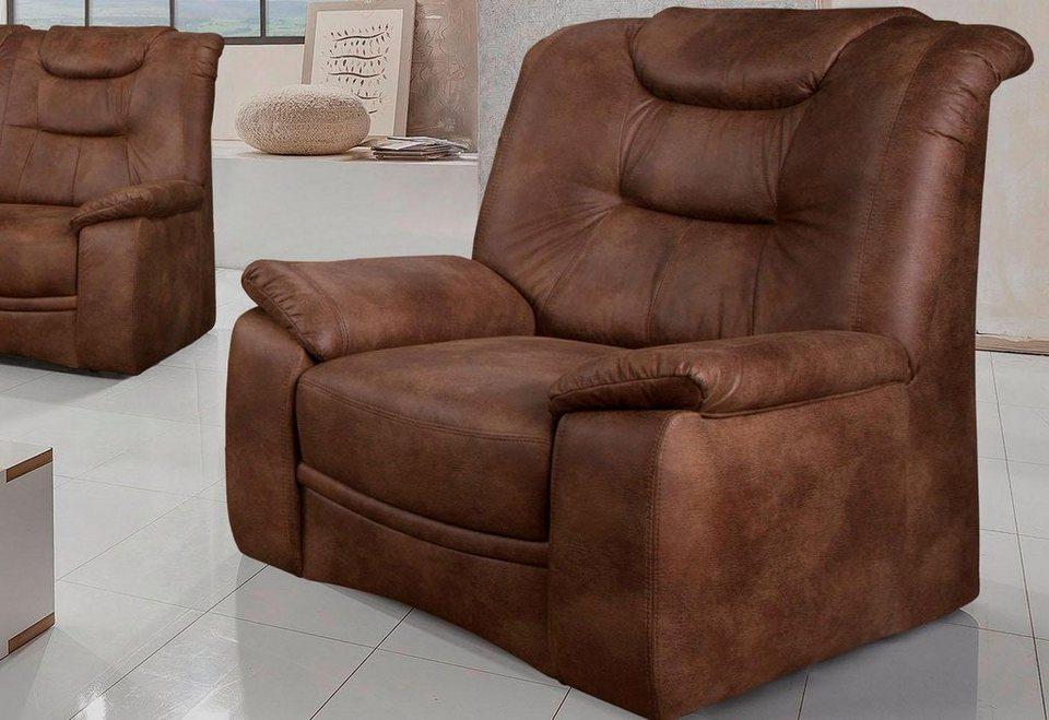 Home affaire Sessel »Grande«, in klassischem Design, mit Federkern in hellbraun
