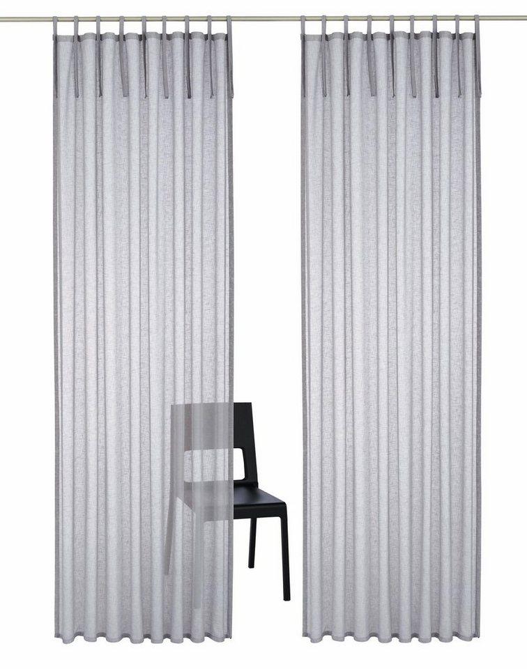 Gardine, Home affaire Collection, »Hannah-Uni«, mit Schlaufen (2 Stück) in grau