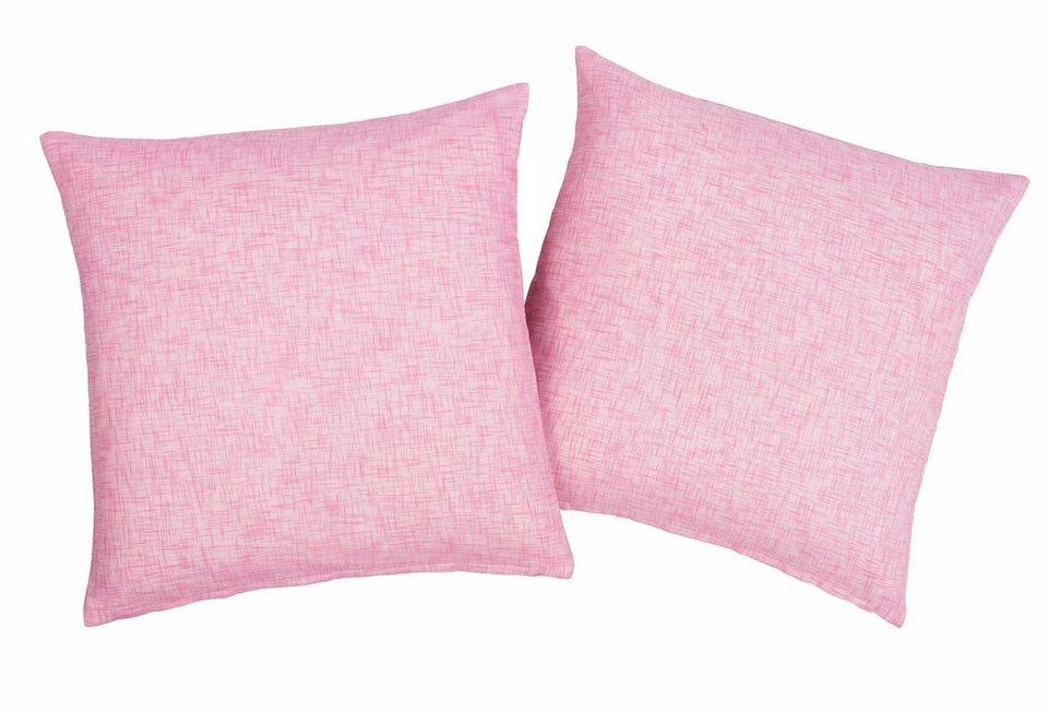 Kissenhüllen, Home affaire Collection, »Hannah-Uni« (2 Stück) in rosa