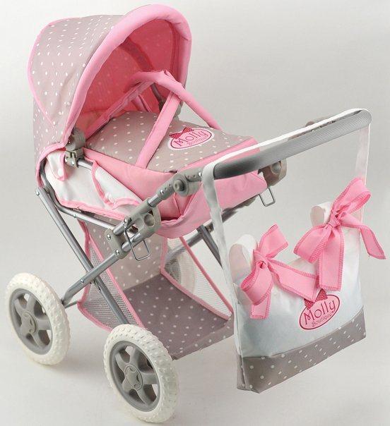 Dimian Kombipuppenwagen, »Bambolina Boutique Puppenwagen mit Handtasche« in beige/rosa/weiß