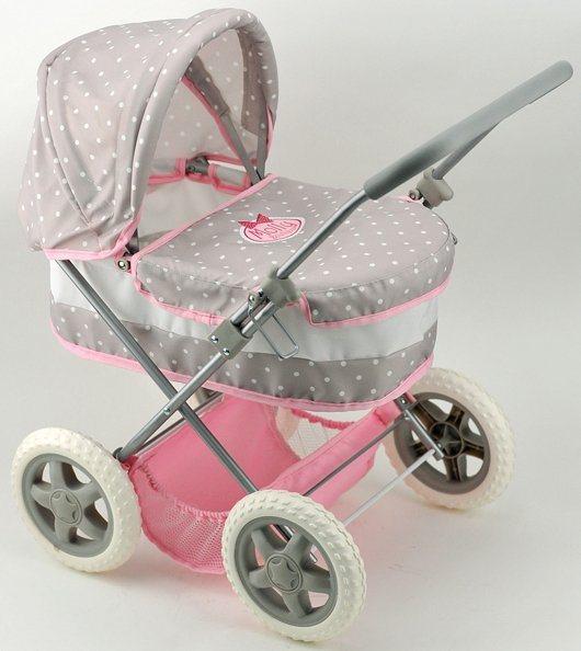 Dimian Puppenwagen, »Bambolina Boutique Deluxe Puppenwagen« in grau/rosa/weiß