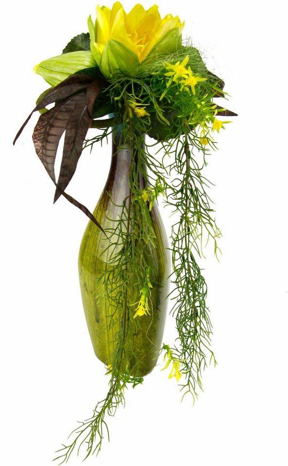 Home affaire Kunstblume »Seerose« in Vase in gelb
