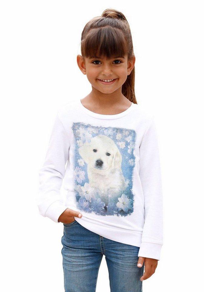 KIDSWORLD Sweatshirt mit süßem Hunde - Motiv in weiß