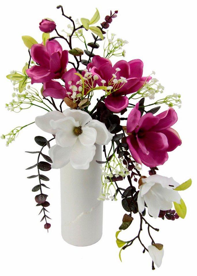 Home affaire Kunstblume »Magnolien« in Vase in weiß/pink