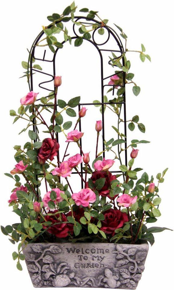 Home affaire Kunstblume »Wildrosen« in Steinschale in rosa