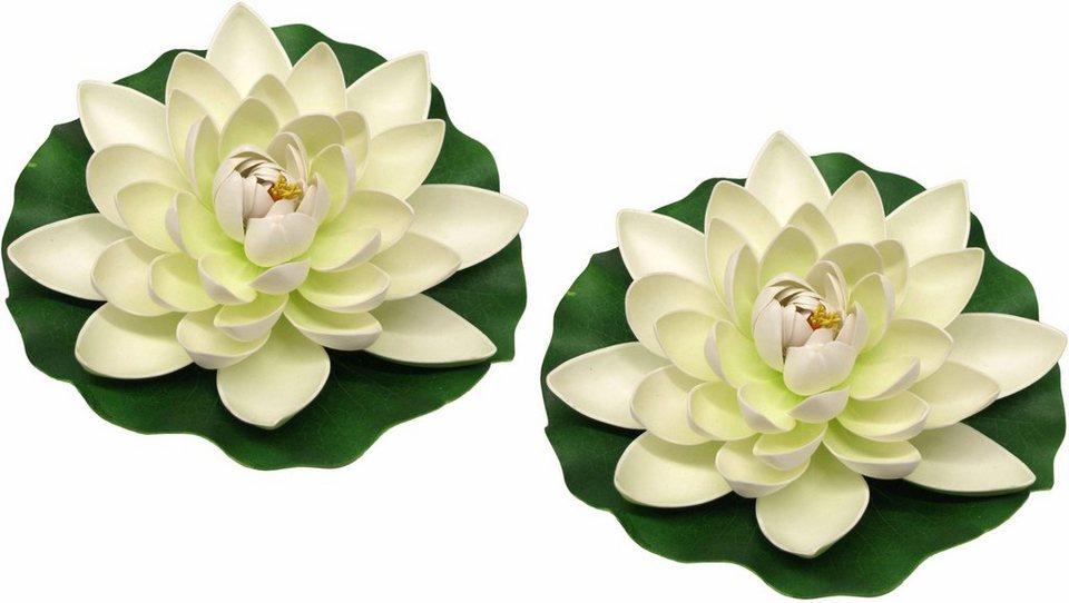 Home affaire Kunstblume »Lotusblüte auf Blatt« (2 Stck.) in weiß