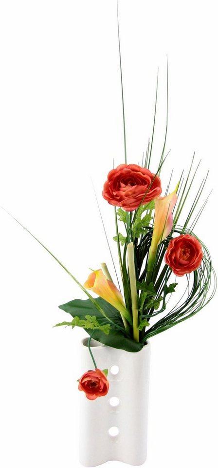 Home affaire Kunstblume »Ranunkeln« in Vase in orange