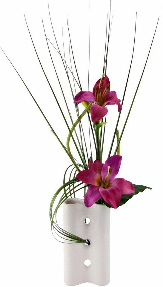 Home affaire Kunstblume »Lilien« in Vase in rosa dunkel