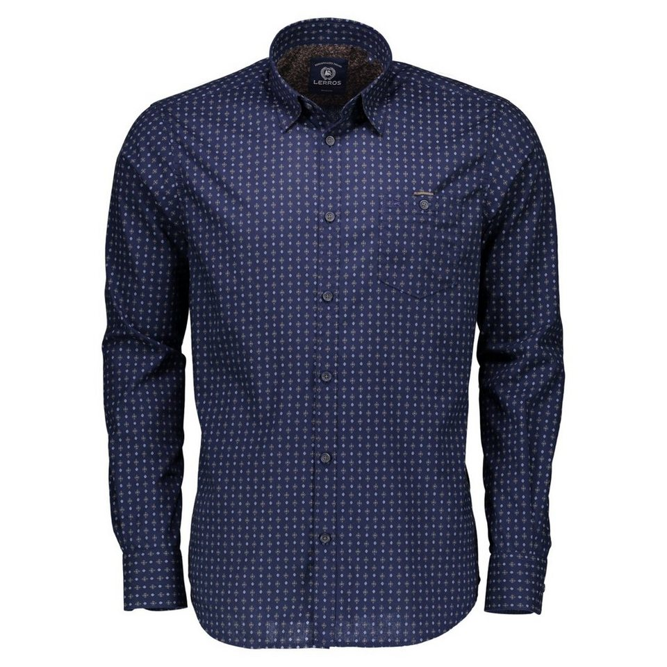 LERROS Langarmhemd mit All-Over-Print in NAVY