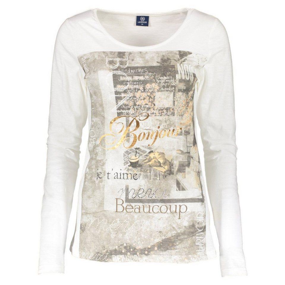 LERROS LERROS Langarmshirt mit Front-Print in SNOW WHITE