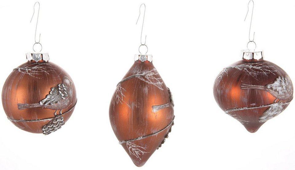Inge´s Christmas Decor Deko-Hänger aus Glas 3-teilig, »Cosy Feeling« in braun, weiß