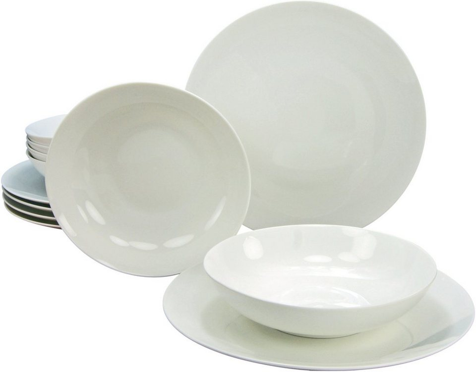 CreaTable Tafelservice Bone China Porzellan, 12 Teile, »CAPRICE« in weiß