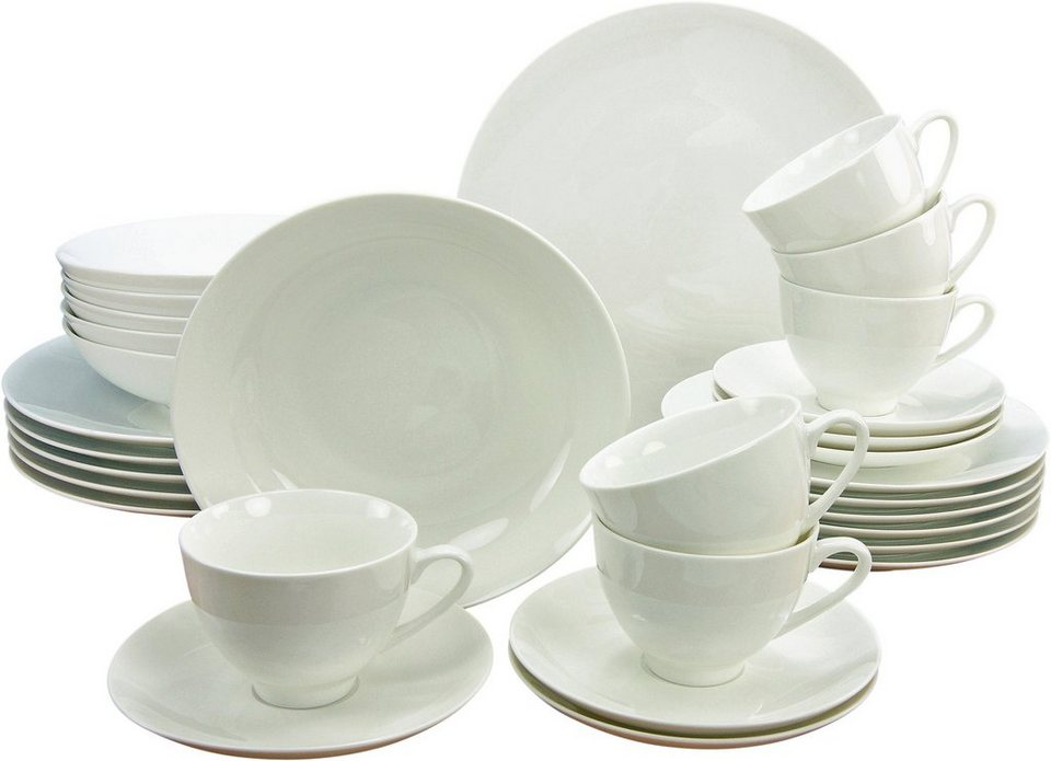 CreaTable Kombiservice Bone China Porzellan, 30 Teile, »Bone China Porzellan, 30 Teile« in weiß