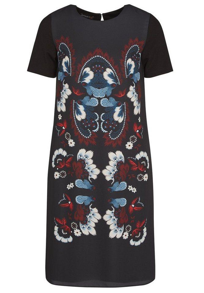 Apart Kleid mit Print Rundhals in schwarz-multicolor