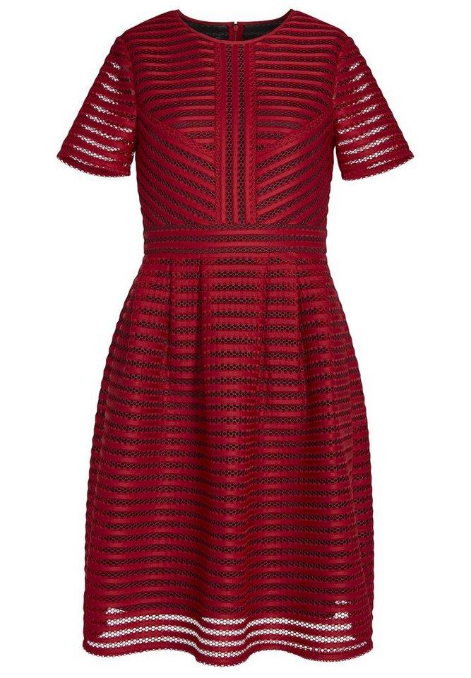 Apart Kleid Rundhals in cranberry-schwarz