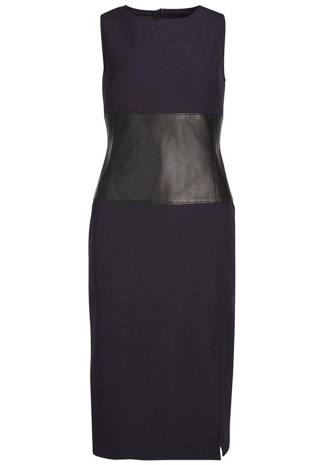 Apart Kleid mit Tailleneinsatz Rundhals in nachtblau-schwarz