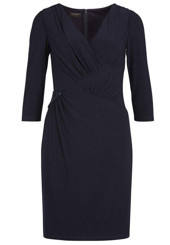 Apart Abendkleid mit Wickeloptik V-Ausschnitt in nachtblau
