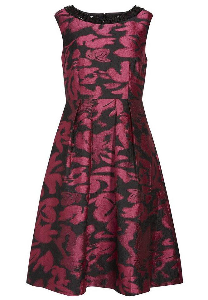 Apart Abendkleid aus Jacquard Rundhals in schwarz-pink