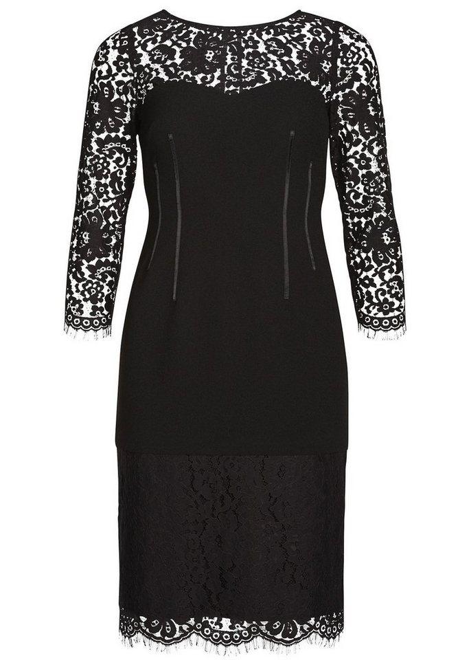 Apart Abendkleid mit Spitze Rundhals in schwarz