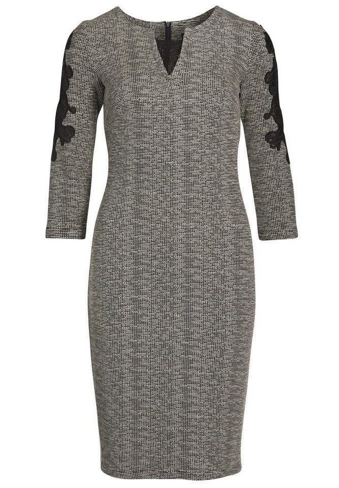 Apart Jerseykleid mit Applikationen Rundhals in schwarz-grau