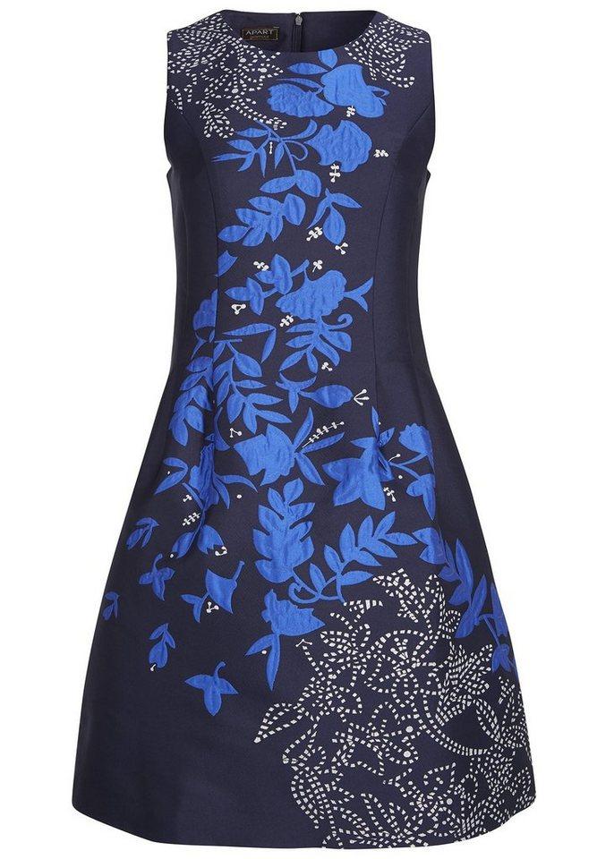 Apart Abendkleid mit Blumenmuster Rundhals in nachtblau-multicolor