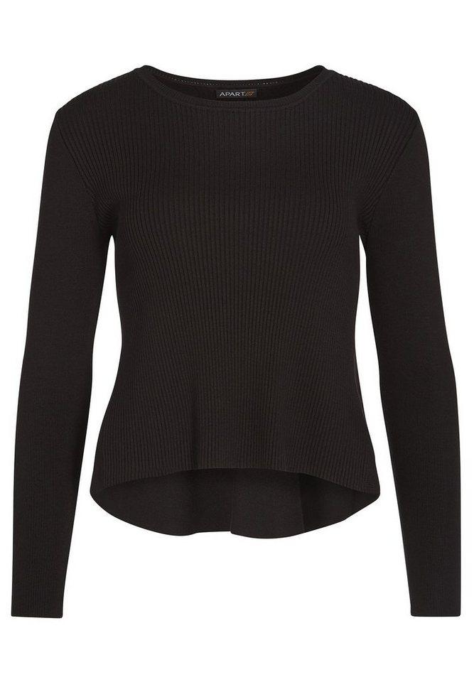 Apart Pullover aus Rippenstrick Rundhals in schwarz