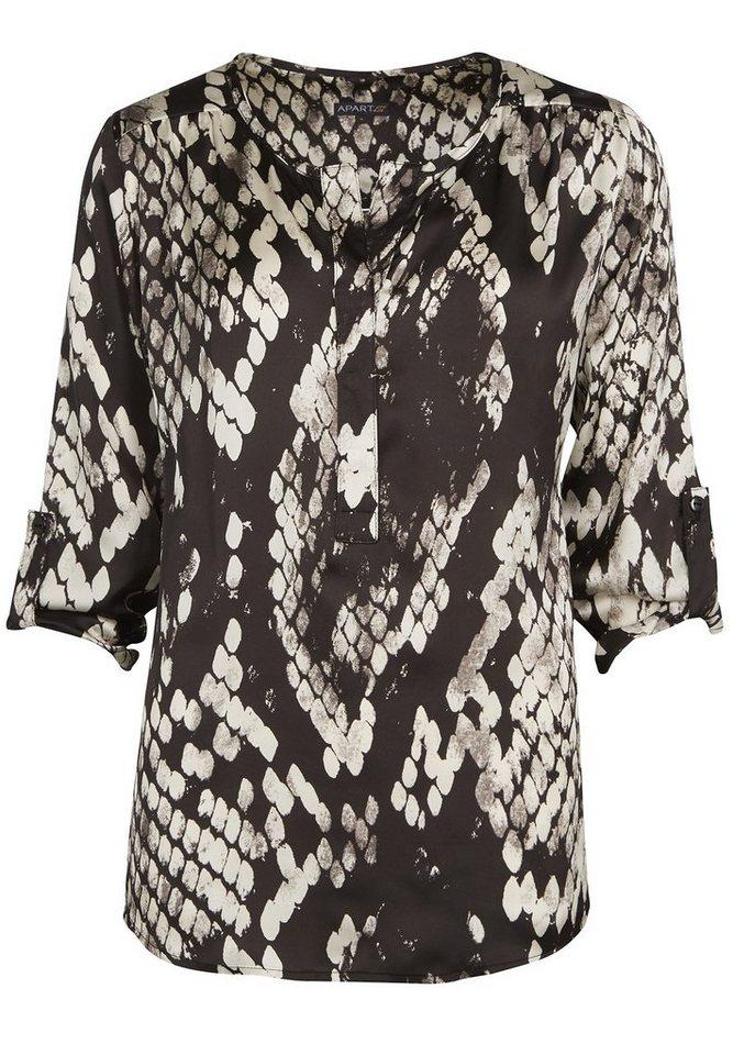 Apart Bluse mit Schlangendruck V-Ausschnitt in schwarz-creme