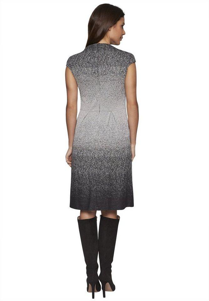 Apart Jerseykleid Kurzarm in schwarz-silber
