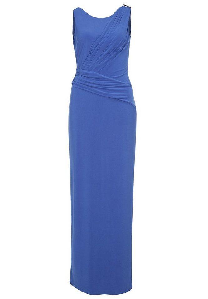 Apart Elegantes Ballkleid Rundhals, V-Ausschnitt in blau