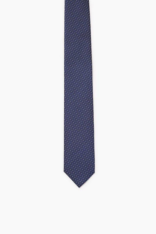 ESPRIT COLLECTION Krawatte mit kleinen Punkten, 100% Seide in NAVY