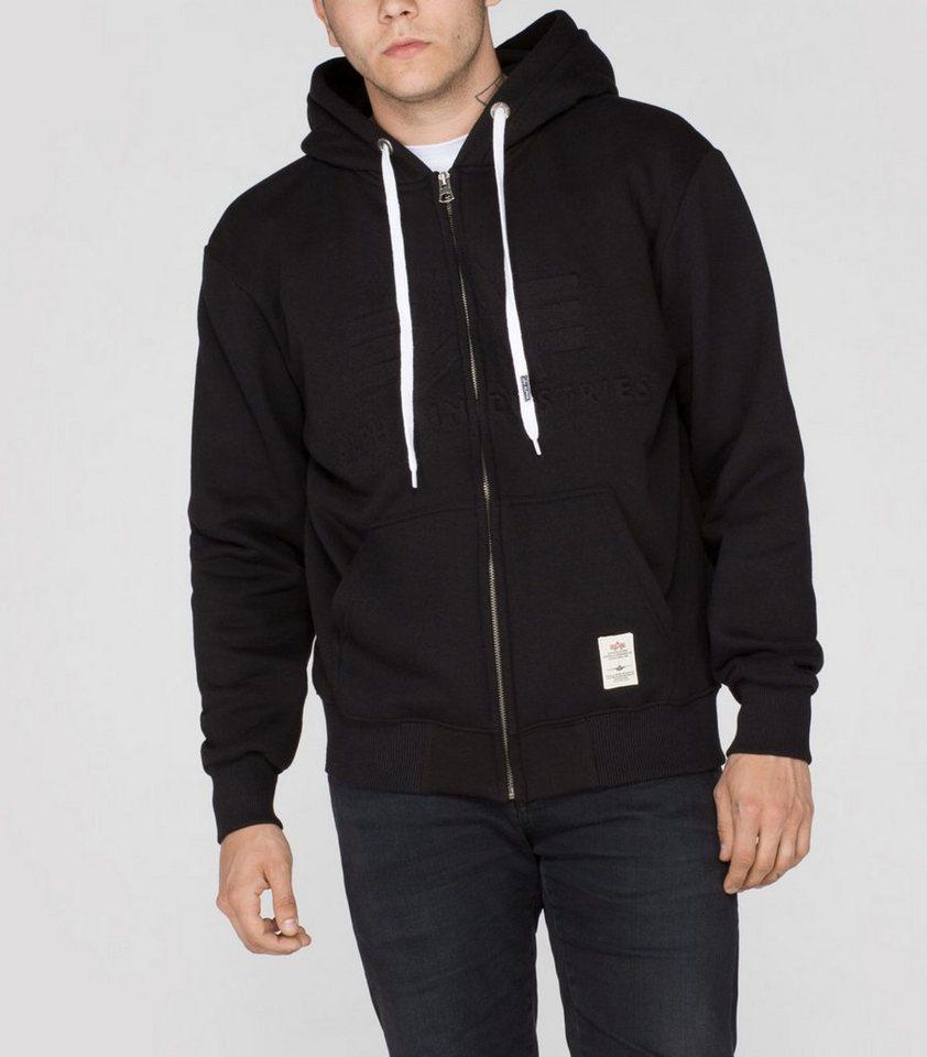 ALPHA INDUSTRIES Sweats »3D Zip Hoody« in black