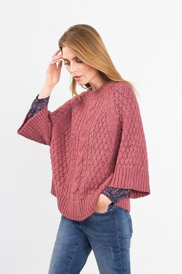 ESPRIT CASUAL Cape-Pullover aus Grobstrick, Woll-Mix in BLUSH