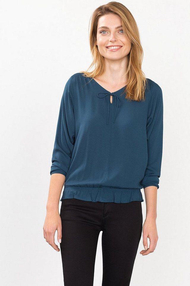 ESPRIT CASUAL Fließende Bluse mit Saum-Volant in TEAL BLUE