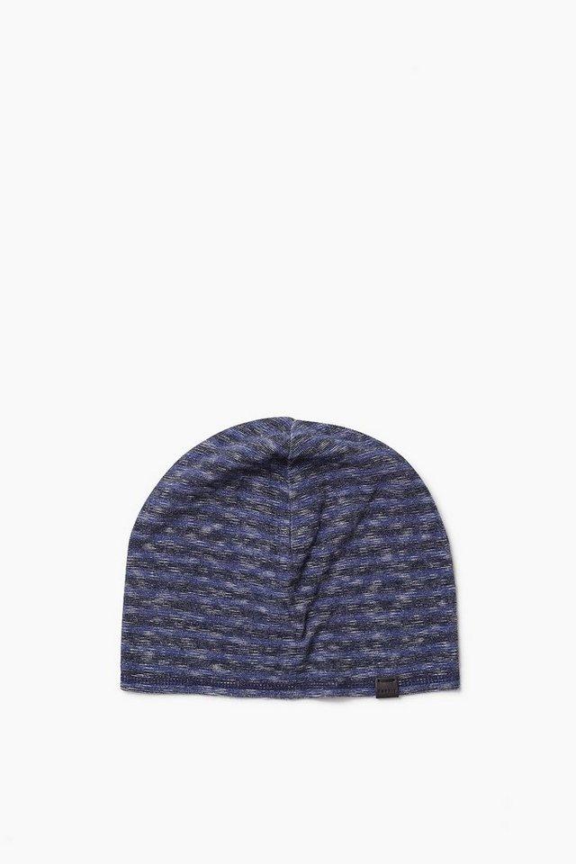 ESPRIT CASUAL Baumwoll Jersey Mütze mit Flammé-Effekt in NAVY