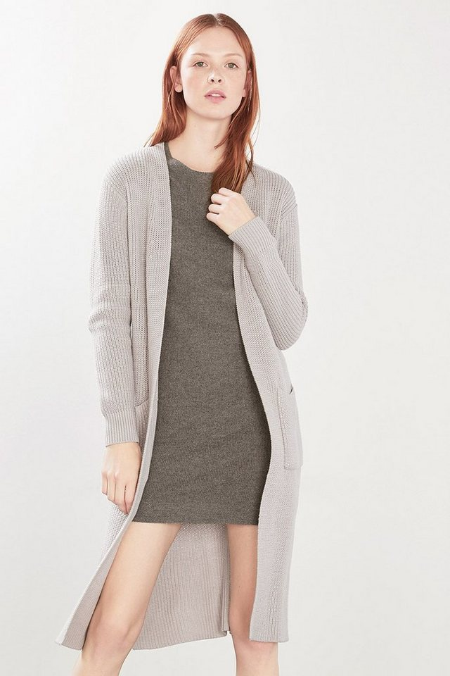 ESPRIT CASUAL Langer Strickmantel in sportiver Rippe in LIGHT GREY