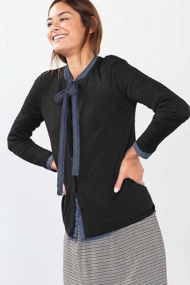ESPRIT CASUAL Feinstrick-Cardigan mit Struktur-Tupfen in BLACK