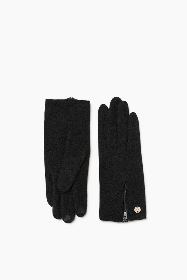 ESPRIT CASUAL Touchscreen Strickhandschuhe mit Zipp in BLACK