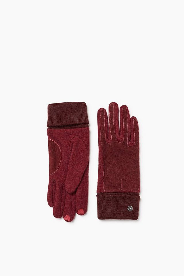 ESPRIT CASUAL Touchscreen Handschuhe aus Strick/Leder in GARNET RED