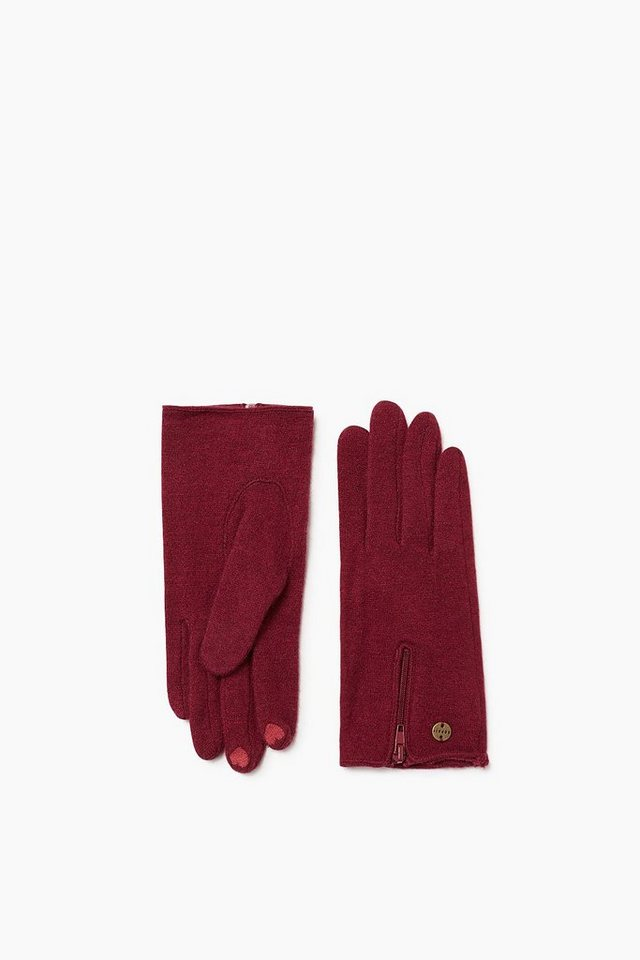 ESPRIT CASUAL Touchscreen Strickhandschuhe mit Zipp in BORDEAUX RED