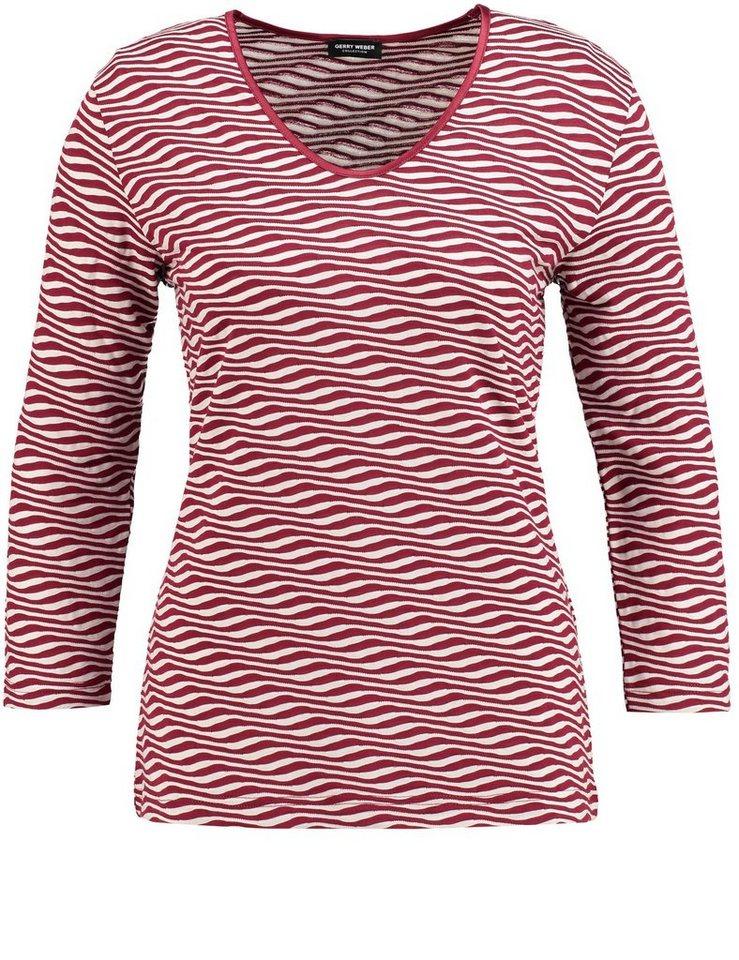 Gerry Weber T-Shirt 3/4 Arm Rundhals »3/4 Arm Shirt mit Wellenstruktur« in Marsala Gemustert