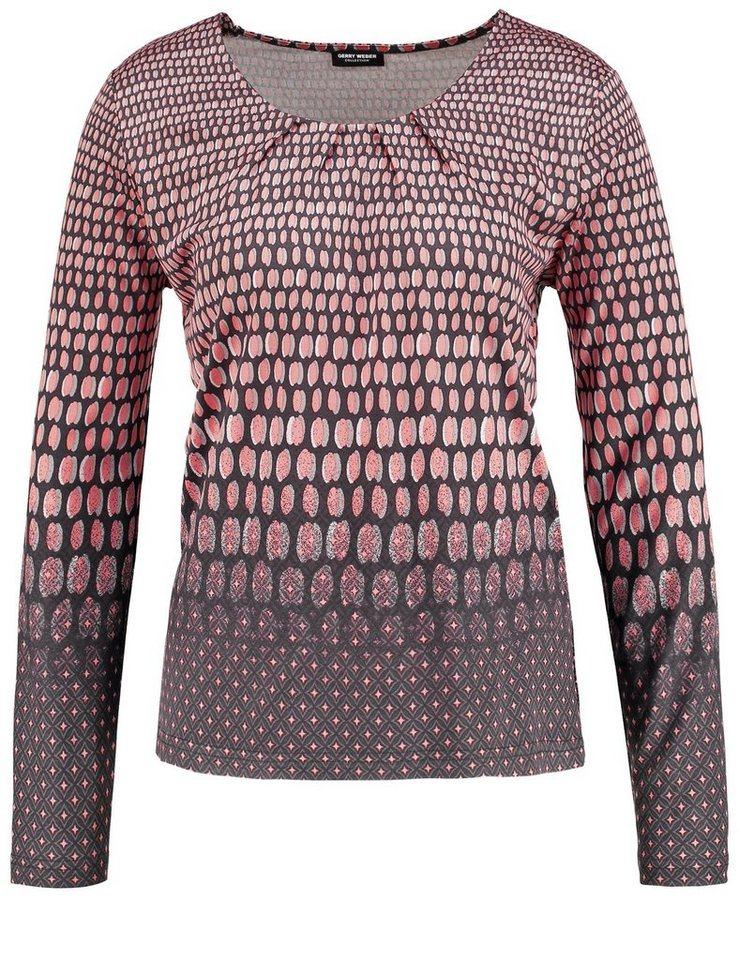 Gerry Weber T-Shirt Langarm Rundhals »Langarmshirt mit Panneauxdruck« in Rot-Orange-Grau Druc