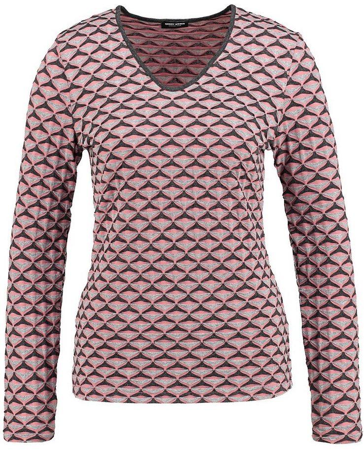 Gerry Weber T-Shirt Langarm Rundhals »Langarmshirt mit Jacquardmuster« in Rot-Orange-Grau Gemu