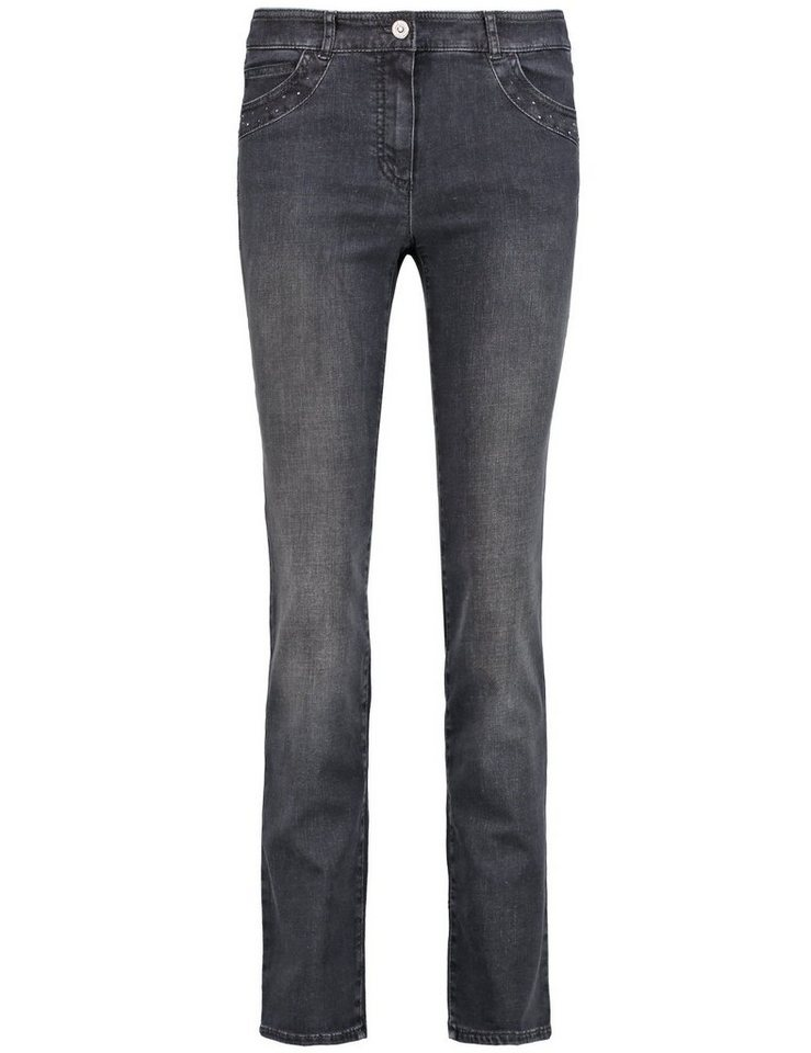 Gerry Weber Hose Jeans lang »5-Pocket Hose mit Ziersteinen« in Dunkelgrau Denim