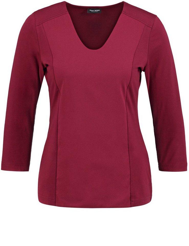 Gerry Weber T-Shirt 3/4 Arm Rundhals »3/4 Arm Shirt mit Materialpatch« in Marsala