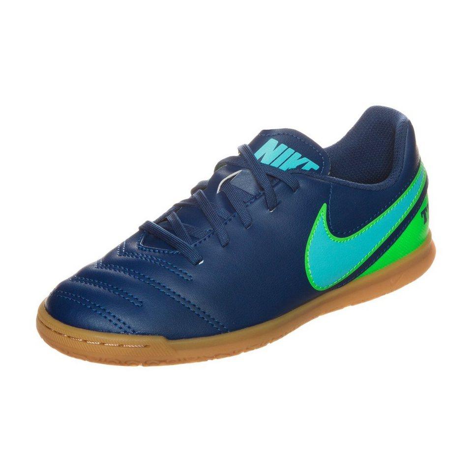 NIKE Tiempo X Rio III Indoor Fußballschuh Kinder in blau / grün
