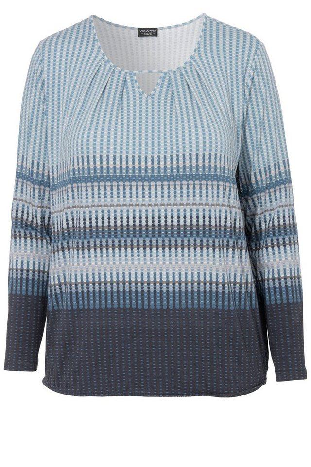 VIA APPIA DUE Fließendes Viskose-Jersey Shirt in Blouson-Form in TAUBENBLAU MULTICOLO