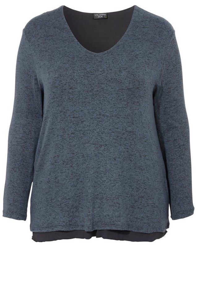 VIA APPIA DUE 2-in-1: Langarmshirt in A-Form mit eingenähtem Top in TINTE / ANTHRA