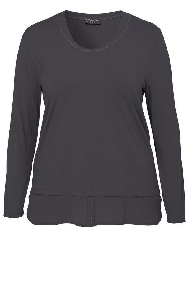 VIA APPIA DUE Lagenlook Long-Shirt in 2-in-1-Optik in ANTHRA