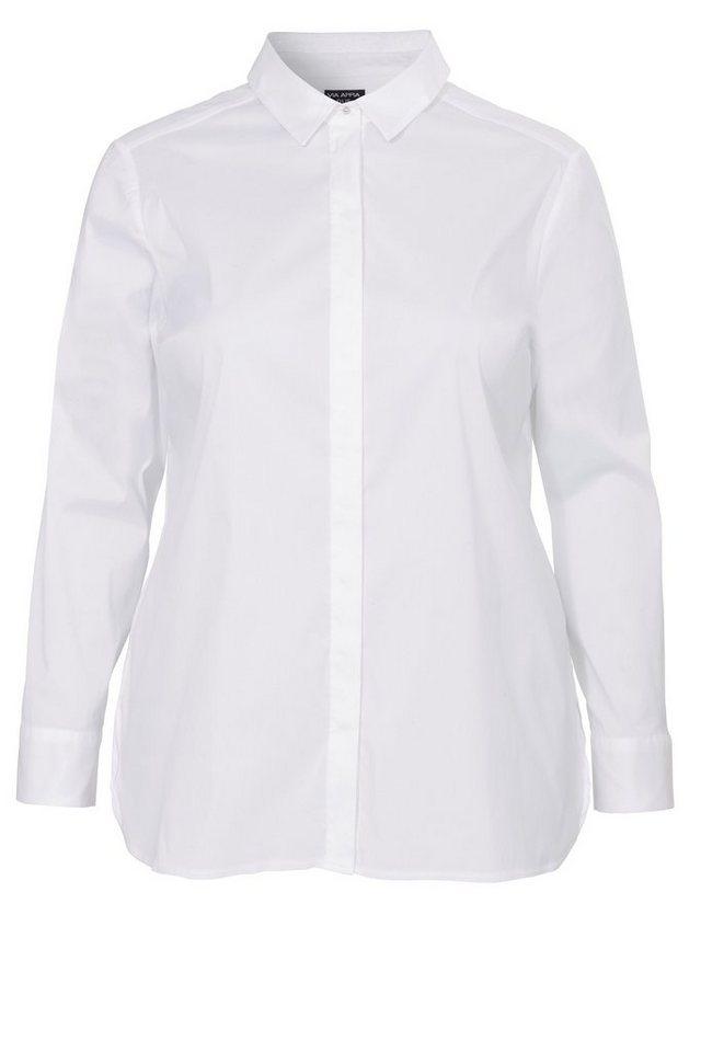 VIA APPIA DUE Klassische, weiße Long-Hemdbluse mit Stretchanteil in WEISS